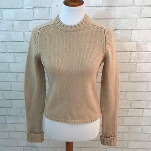 J.Crew Tan Cropped Lambswool Crew Neck Sweater